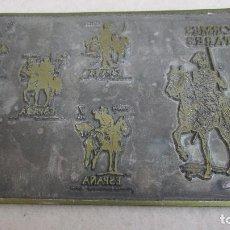 Antigüedades: PLANCHA O CLICHÉ DE IMPRENTA EN PLOMO, ZINC - UNIFORMES MILITARES. Lote 95536039