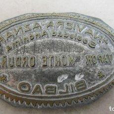 Antigüedades: PLANCHA O CLICHÉ DE IMPRENTA EN PLOMO, ZINC - NAVIERA AZNAR. Lote 95536695