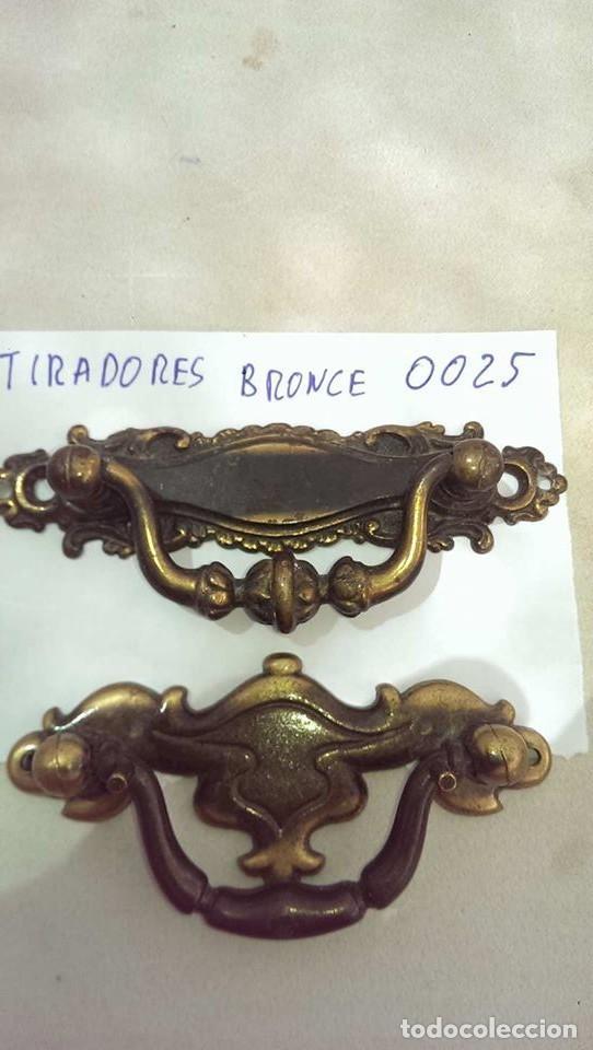 LOTE 2 TIRADORES BRONCE CORRECTOS ARTESANALES MODERNISTAS CLASICOS PARA PUERTA ARMARIO MESITAS (Antigüedades - Técnicas - Cerrajería y Forja - Tiradores Antiguos)