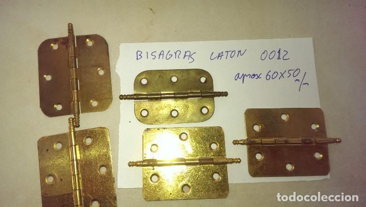 LOTE 5 BISAGRAS EN LATON PARA PUERTAS ARMARIOS DESPENSAS (Antigüedades - Técnicas - Cerrajería y Forja - Bisagras Antiguas)