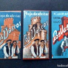 Antigüedades: LOTE DE 3 HOJAS DE AFEITAR ANTIGUAS-DISTINTAS-LOS VASCOS-VINTAGE. Lote 95812431