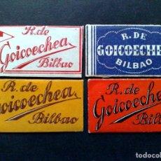 Antigüedades: LOTE DE 4 HOJAS DE AFEITAR ANTIGUAS-DISTINTAS-R.DE GOICOECHAEA-BILBAO-VINTAGE. Lote 95831343