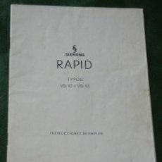 Antigüedades: MANUAL ASPIRADOR SIEMENS RAPID - VST 92 Y VST 93. Lote 95923031