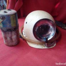 Antigüedades: CASCO MINERO EN BUEN ESTADO. EL CARBURERO ESTA INCOMPLETO . Lote 96027319