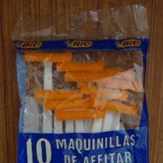 Antigüedades: (TC-50) 10 MAQUINILLAS DE AFEITAR BIC EN BOLSA ORIGINAL. Lote 96337187