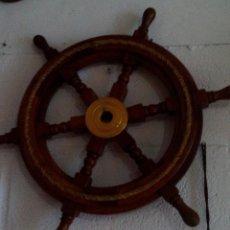 Antigüedades: RUEDA DE TIMON EN BRON Y MADERA DE COLOR SIN USAR. Lote 96523447