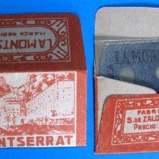 Antigüedades: HOJA DE AFEITAR. LA MONTSERRAT. PRECIO 25 CTS HOJA. FABRICANTE S. DE ZALDÍVAR, MÁLAGA. .. Lote 194261002