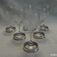 Antigüedades: COPAS ANTIGUAS DE CRISTAL TALLADO A MANO Y BASE DE PLATA. Lote 96583471