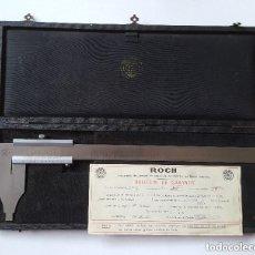 Antigüedades: ESTUCHE CON CALIBRE - PIE DE REY ROCH PARÍS AÑO 1963 INSTRUMENTO DE PRECISION ACERO CON CERTIFICADO . Lote 96590719