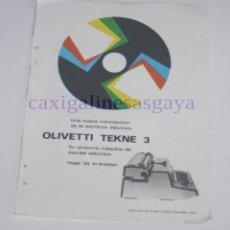 Antigüedades: PUBLICIDAD - ANUNCIO - MAQUINA DE ESCRIBIR ELECTRICA OLIVETTI TEKNE 3 Y CORTADORA UNIVERSAL BE- 1965. Lote 97162347