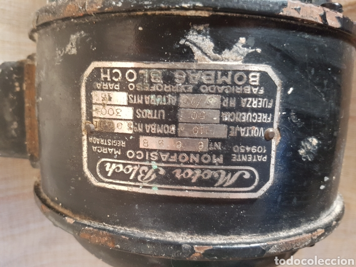 Antigüedades: ANTIGUO MOTOR BLOCH MONOFÁSICO, FRECUENCIA 50, LITROS 300, VOLTAJE 110 - Foto 5 - 97621411