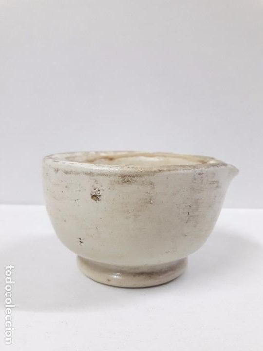 Antigüedades: ANTIGUO MORTERO - ALMIREZ DE FARMACIA CON SU MANO . MADE IN ENGLAND . DIAMETRO 7,5 CM ALTO 5 CM - Foto 6 - 97627247