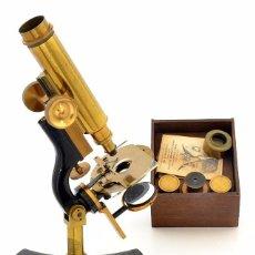 Antigüedades: MICROSCOPIO ANTIGUO AMERICANO J. QUEEN (1886) EN SU CAJA ORIGINAL. Lote 97636815
