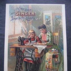 Antigüedades: CARTEL MAQUINAS DE COSER SINGER. Lote 98079115
