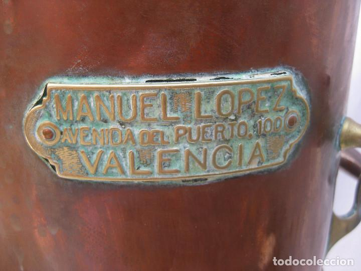 Antigüedades: ALAMBIQUE ANTIGUO XIX COBRE LATON BODEGA O FARMACIA AVENIDA DEL PUERTO 100 VALENCIA MANUEL LOPEZ - Foto 7 - 98083903