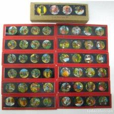 Antigüedades: 5---SERIE 12 PLACAS EN VIDRIO CON FOTOGRAMAS PARA VER CINE EN LINTERNA MÁGICA,FABRICADAS EN,ALEMANIA. Lote 98089159