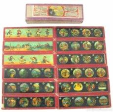 Antigüedades: 4-SERIE 12 PLACAS EN VIDRIO CON FOTOGRAMAS PARA LINTERNA MÁGICA,FABRICADAS POR BING-ALEMANIA. Lote 98122399