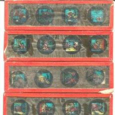 Antigüedades: 6-SERIE 6 PLACAS EN VIDRIO CON FOTOGRAMAS PARA LINTERNA MÁGICA,FABRICADAS EN ALEMANIA. Lote 98149407