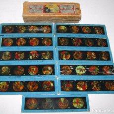 Antigüedades: 85--SERIE 11 PLACAS EN VIDRIO CON FOTOGRAMAS PARA VER CINE EN LINTERNA MÁGICA,FABRICADAS POR BING. Lote 98154171