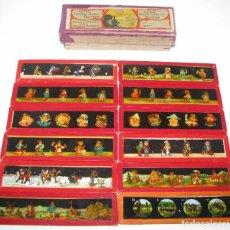 Antigüedades: 3-SERIE 12 PLACAS EN VIDRIO CON FOTOGRAMAS PARA VER CINE EN LINTERNA MÁGICA,FABRICADAS EN ALEMANIA. Lote 98162855