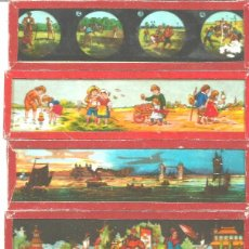 Antigüedades: 180-SERIE 6 PLACAS EN VIDRIO CON FOTOGRAMAS PARA VER CINE EN LINTERNA MÁGICA,FABRICADAS EN ALEMANIA. Lote 98220631