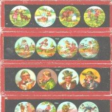 Antigüedades: 170-SERIE 6 PLACAS EN VIDRIO CON FOTOGRAMAS PARA VER CINE EN LINTERNA MÁGICA,FABRICADAS EN ALEMANIA. Lote 98221663