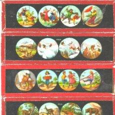 Antigüedades: 175-SERIE 6 PLACAS EN VIDRIO CON FOTOGRAMAS PARA VER CINE EN LINTERNA MÁGICA,FABRICADAS EN ALEMANIA. Lote 98223739