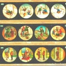 Antigüedades: 185-SERIE 3 PLACAS EN VIDRIO CON FOTOGRAMAS PARA VER CINE EN LINTERNA MÁGICA,FABRICADAS EN ALEMANIA. Lote 98224351