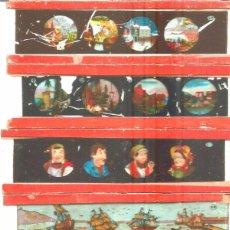 Antigüedades: 9-SERIE 6 PLACAS EN VIDRIO CON FOTOGRAMAS PARA VER CINE EN LINTERNA MÁGICA,FABRICADAS EN ALEMANIA. Lote 98231675