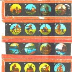 Antigüedades: 2-SERIE 6 PLACAS EN VIDRIO CON FOTOGRAMAS PARA VER CINE EN LINTERNA MÁGICA,FABRICADAS EN ALEMANIA. Lote 98231879