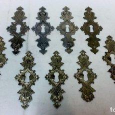 Oggetti Antichi: LOTE 9 EMBELLECEDORES METÁLICOS CON BOCALLAVE, ÉPOCA ALFONSINA.. Lote 98834459