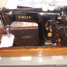 Antigüedades: SINGER 201K MAQUINA DE COSER, AÑO 1955, CONOCIDO PARA COSER TODOS LOS MATERALES RESISTENTES. Lote 99069671