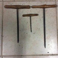 Antigüedades: LOTE DE 3 ANTIGUAS Y GRANDES BARRENAS. Lote 99308067