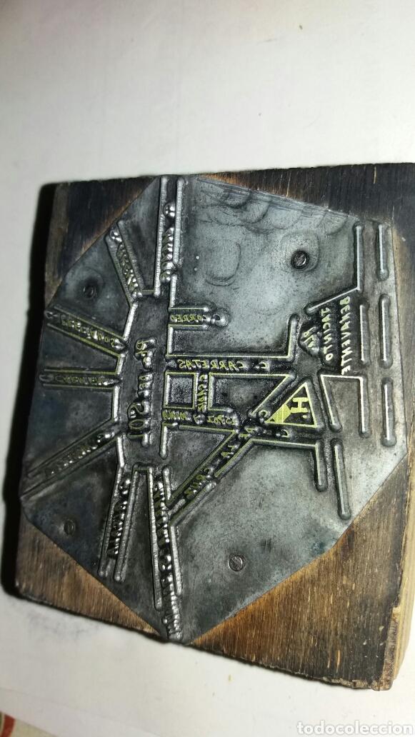 Antigüedades: Troquel o sello de imprenta . Parte de plano de la puerta del sol de madrid - Foto 2 - 99399672