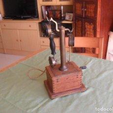 Teléfonos: ANTIGUO TELEFONO MADERA PICART LEBAS,AÑOS 1900,PIEZA RARA DE VER,DE COLECCCION. Lote 99730055