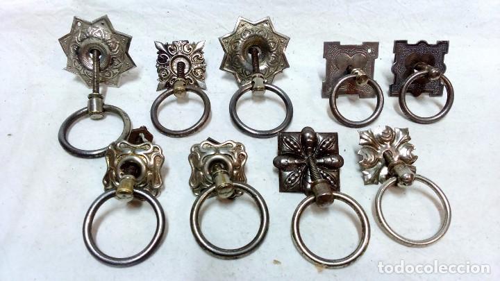 9 tiradores antiguos met licos de anilla con em comprar tiradores antiguos en todocoleccion - Tiradores antiguos para muebles ...