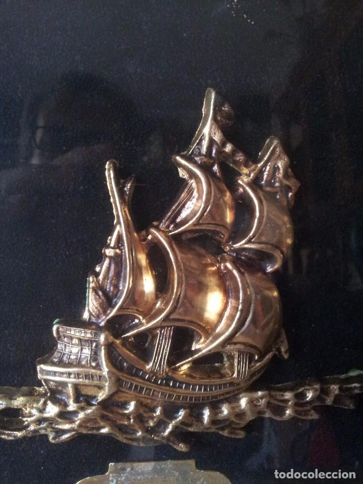 Antigüedades: CUADRO MARINERO CARABELAS DORADAS - 5 CENTENARIO CARABELAS COLOMBIANAS 1492-1992 - Foto 3 - 99944835
