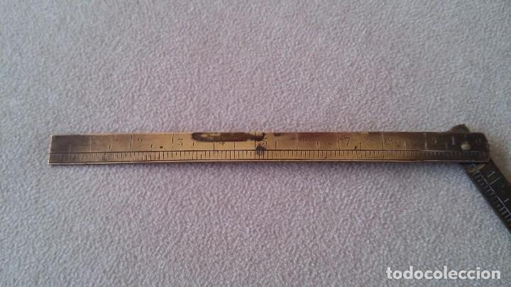 Antigüedades: Metro plegable metálico - Foto 5 - 99995355