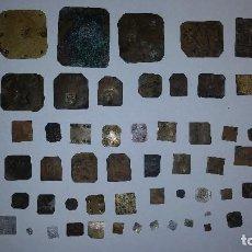 Antigüedades: JUEGO DE 68 PESAS PONDERALES DE DIFERENTES MEDIDAS Y PESO DEL SIGLO XIX. Lote 100912527
