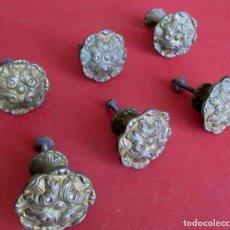 Antigüedades: 6 TIRADORES BROCE – LATÓN DIÁMETROS 4,5 Y BASE 2 CM. . Lote 100999323
