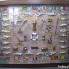 Antigüedades: GRAN CUADRO NAVAL, NUDOS, BANDERAS, ANCLAS ETC. Lote 101540755