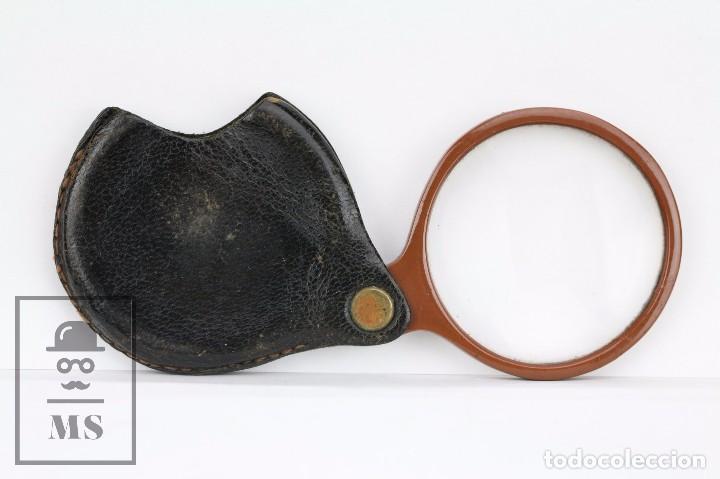 Antigüedades: Antigua Lupa de Bolsillo - Pasta Marrón y Funda de Piel - Primera Mitad Siglo XX - Medidas 6 x 5 cm - Foto 4 - 101617167