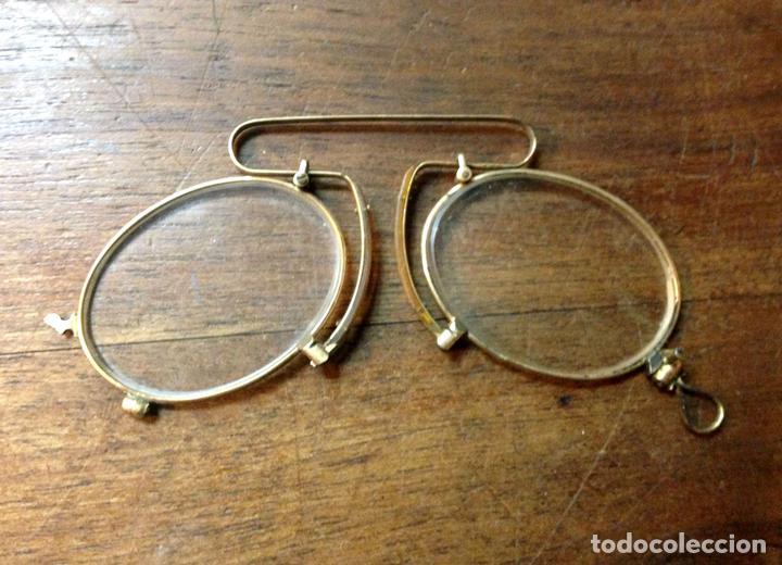 ANTEOJOS ANTIGUOS. ORO BAJO. ESPAÑA(?). S.XIX. (Antigüedades - Técnicas - Instrumentos Ópticos - Gafas Antiguas)