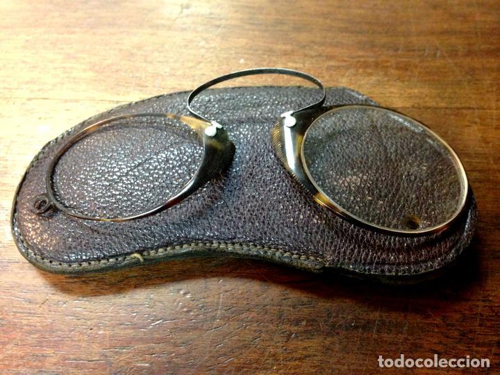 ANTIGUOS ANTEOJOS. MONTURA EN CAREI Y METAL. ESPAÑA(?). SIGLO XIX. (Antigüedades - Técnicas - Instrumentos Ópticos - Gafas Antiguas)