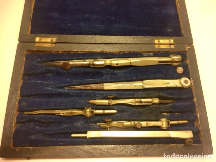 Antigüedades: Estuche antiguo de compases en madera palo santo de principios del siglo XX - Foto 4 - 102932447