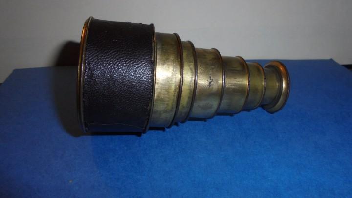 Antigüedades: ANTIGUO MONOCULAR - BRONCE , PIEL . S. XIX SOBREDORADO ,MARCA DEL FABRICANTE ILEGIBLE , - Foto 6 - 102959179