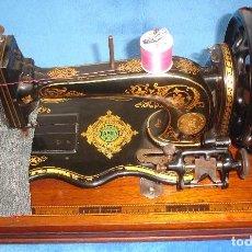 Antigüedades: PRECIOSA Y ANTIGUA MAQUINA DE COSER, JONES FAMILY AÑO C. 1880 ,RARO DISEÑO- MUY COLECCIONABLE. Lote 102961319