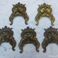 Antigüedades: 5 TIRADORES GRANDES EN FORMA DE LEON. Lote 103670779