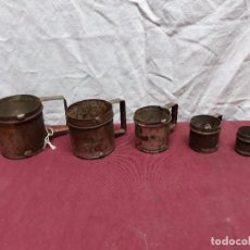 Antigüedades: JUEGO 5 MEDIDAS POTEADAS CON MARCA DE FABRICA J. R. Lote 103718347