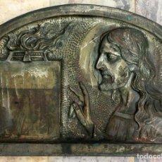 Antigüedades: ANTIGUA LÁPIDA DE METAL - MOLDE O MODELO FRONTAL PARA TUMBA - SAGRADO CORAZÓN - CEMENTERIO - DIFUNTO. Lote 103881223